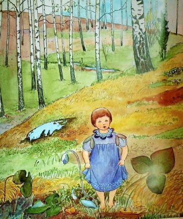 Visan Blåsippan ute i backarna står illustrerades av Alice Tegnérs kompis Elsa Beskow.