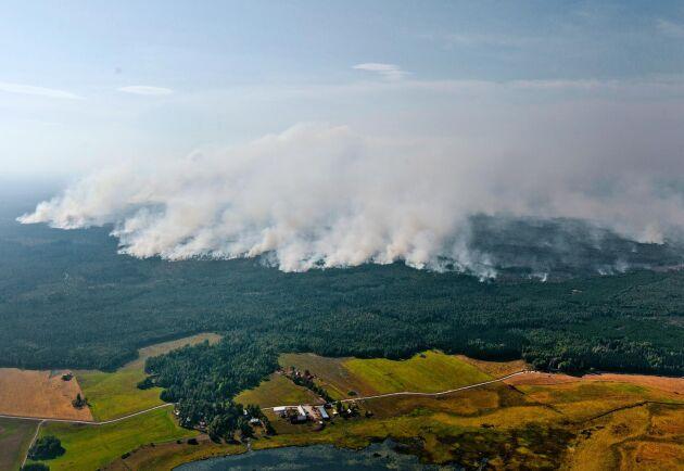 Sista juli 2014 började det brinna på ett kalhygge i Surahammars kommun. Först den 11 augusti var branden under kontroll. Då hade 13800 hektar skog eldhärjats, helt eller delvis. Här byn Rörbo i förgrunden, fotograferad den 3 augusti 2014.