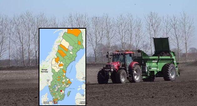 ATLs unika karta över kommunernas gödselregler hittar du längst upp i artikeln. Klicka på din kommun för att se vilka regler kommunen ställer.