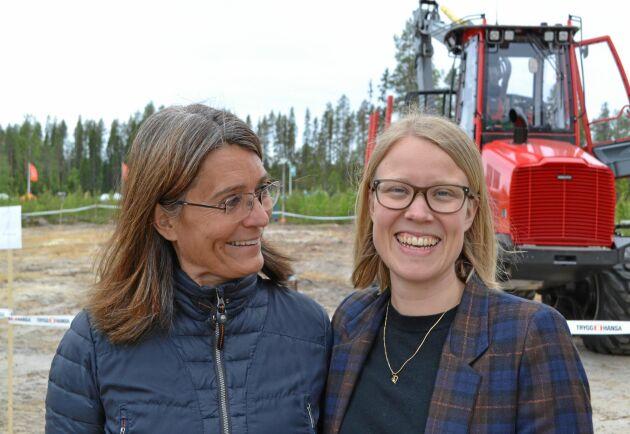 – Skogen är en framtidsbransch, men inte om människor känner sig exkluderade, sa Kristina Yngwe, till höger. Till vänster Carina Håkansson.