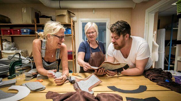 Ulrika Eliasson, Agneta Rådman och Erik Davis i full färd att producera vinterns Luddor.