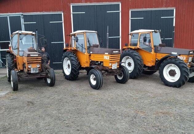 Tre Valmet på rad. Det är pålitliga och slitstarka traktorer, menar Nils Hylander.