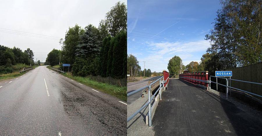Före- och efter-bild av cykelväg vid väg 1921 i Herrljunga. Cykelvägen ingår i projektet 10 mil.