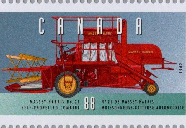 Skördetröskan MH-21 som kanadensiskt frimärke.