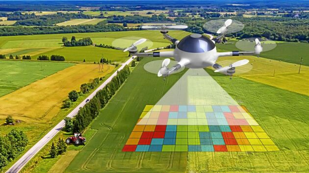Bilden illustrerar kontinuerlig fältanalys utförd av ronderande drönare, en vision som kan bli möjlig om drönare tillåts flyga bortom synhåll.