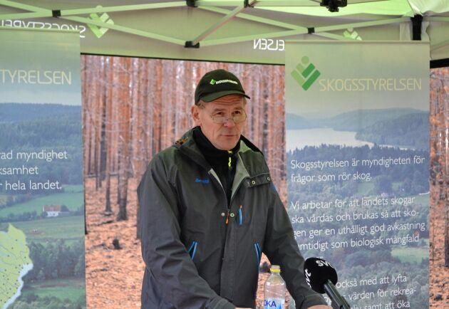 Arkivbild: Skogsstyrelsens generaldirektör Herman Sundqvist på presskonferens om brandstöd i oktober 2018.