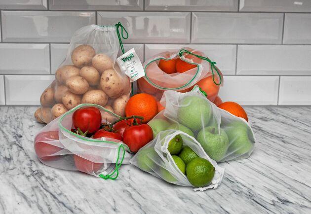 Återanvändbara och florstunna nätpåsar får plats i fickan eller väskan.