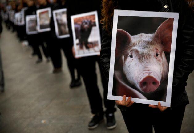 Arkivbild från en demonstation i Madrid.