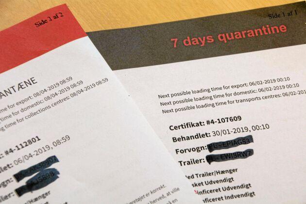 Transportfordon som kommer från ASF-drabbad zon beläggs med svart certifikat och sju dygns karantän medan de som varit buffertzonerna beläggs med rött certifikat och 48 timmars karantän.