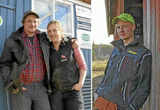 Per Andrén och Sofia Wahlén driver mjölkgården Bjädesjöholm tillsammans. John Oscarsson driver gården Änga en bit därifrån.