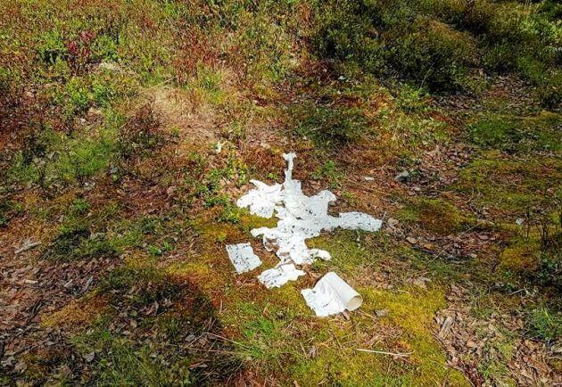 Här har vandrare uträttat sina behov bara ett par meter från vandringsleden och låtit toapappret ligga.