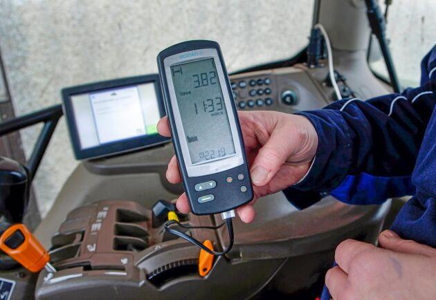 Data. Instrumentet vi använder hämtar information direkt från traktorns dator.