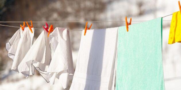 Smarta husmorsknepet: Låt tvätten torka utomhus – i snö och kyla