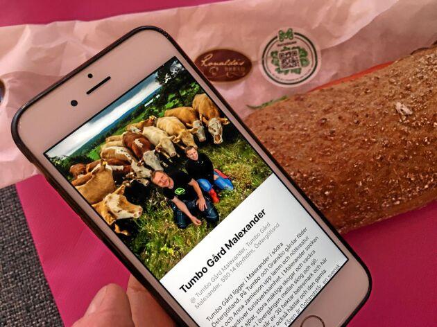 """Genom appen """"Matkedjan"""" kan man scanna en QR-kod och få all information om maten."""