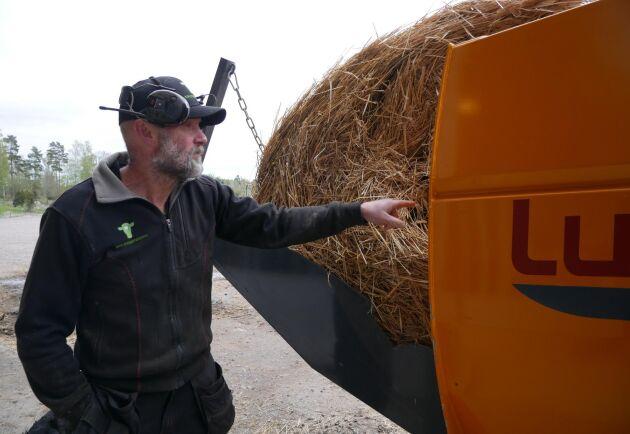 Örjan Pettersson tycker att det fungerar bäst att köra med hårt pressad halm. När de kör med halm som är lösare pressad som denna, är det lite svårare för Raptorn att mata ut på bästa sätt ibland.