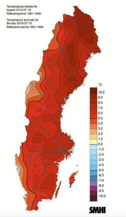 Det har mycket varmare än normalt i princip i hela Sverige. Så här såg väderkartan ut den 18 juli.