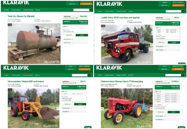 Efter någon dag finns objekten ute på Klaraviks sajt.