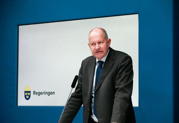 MSB:s generaldirektör Dan Eliasson under en pressbriefing efter mötet i krishanteringsrådet om den pågående coronapandemin samt hur beredskapen ser ut inför sommaren.