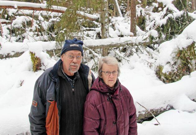 """Hos Arne och Yvonne Larsson har en hel del äldre barrblandskog fällts i stormen. """"Nu blir den nog inte klassad som nyckelbiotop i alla, säger Arne."""""""