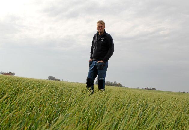 Årets torka visar att nya klimatförhållanden kräver nya sätt att agera som lantbrukare, menar Henrik Nilsson som driver Henriksfälts gård i sydöstra Skåne. Det går inte bara att fortsätta göra som man alltid har gjort, därför testade han själv med att så majs direkt efter skörden av höstvete.