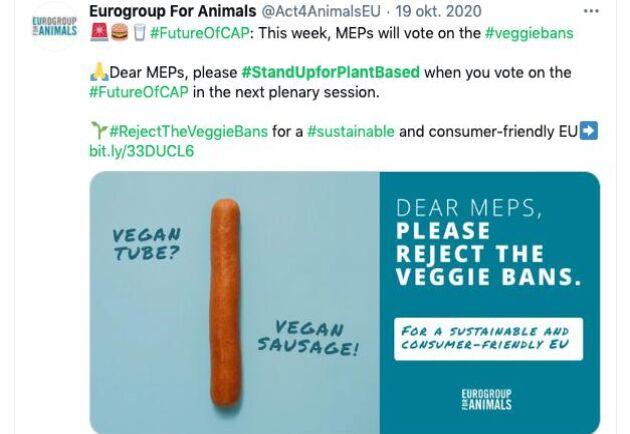 Eurogroup for Animals ställde i en kampanj frågan vad en vegankorv skulle kallas om den inte fick kallas korv.