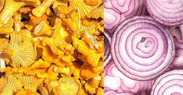 Syltade kantareller med rödlök är ett läckert tillbehör exempelvis till köttgrytor.
