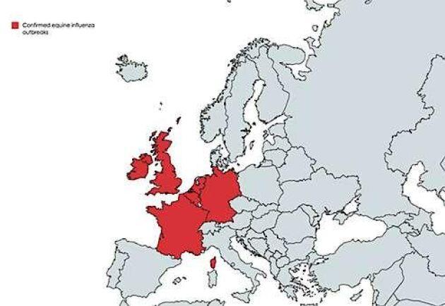 Kartan visar de länder man konstaterat fall av hästinfluensa kopplat till det pågående utbrottet.