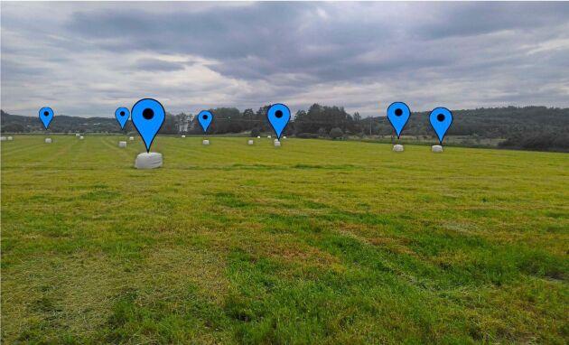 Varje blå markering på balarna motsvarar en GPS-koordinat. Informationen skulle utgöra grunden för att beräkna den smartaste insamlingsrutten.