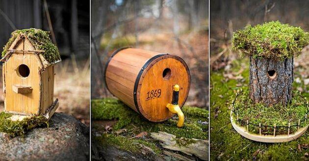 De tre vinnande fågelholkarna, skapade av elever i tre olika skolklasser i Sverige.
