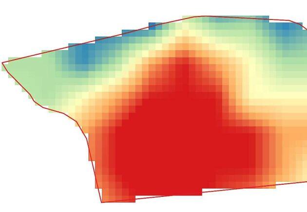 Analysen visar tydligt att ogrästrycket är högre nere i den vänstra delen av fältet.