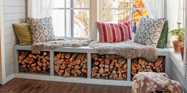 Bygg en sittbänk med smart vedförvaring