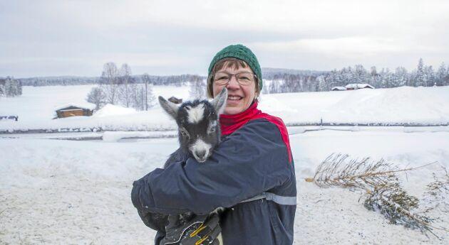 Jaana Alamäki Enström hemma på gården i Bondersbyn med utsikt ner mot Kalixälven där getterna och killingarna finns. Getmjölken förädlas till olika ostar i företaget Kalix Ost.