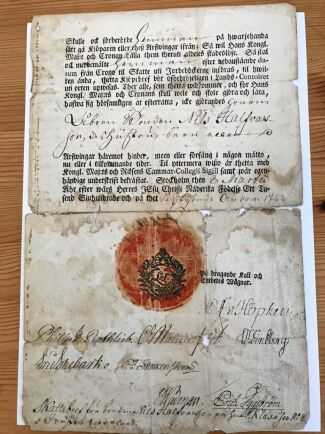Kontrakt på gården från mitten av 1700-talet.