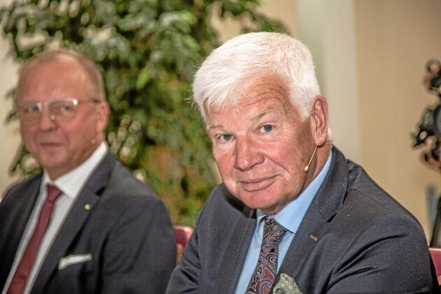 Lars-Göran Pettersson, fd LRF-ordförande i bakgrunden Anders Källström VD, LRF.