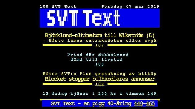 SVT Text summerar nyheter, väder och sportresultat.