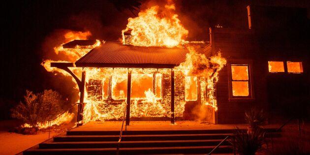 Våldsamma vindbyar gynnar Kalifornienbränder