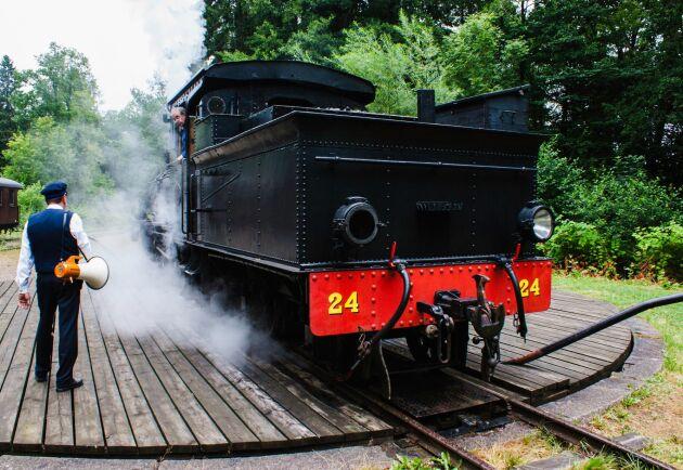 Loket vänder på museijärnvägen Anten-Gräfsnäs i Västra Götaland.