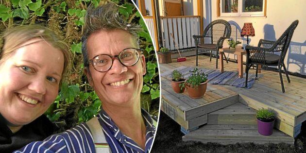 Karin och Henrik byggde en altan för tusen kronor