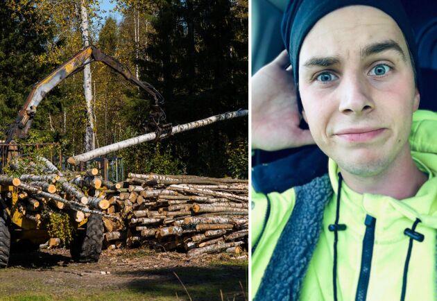 Dennis Eriksson från Östhammar gick skogsmaskinsutbildningen på Jälla och bara hälften av hans klasskompisar jobbar i dag kvar i skogen.