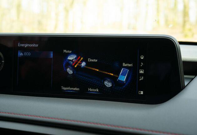 På skärmen går det att följa hur el- och bensinmotor samspelar under färden.