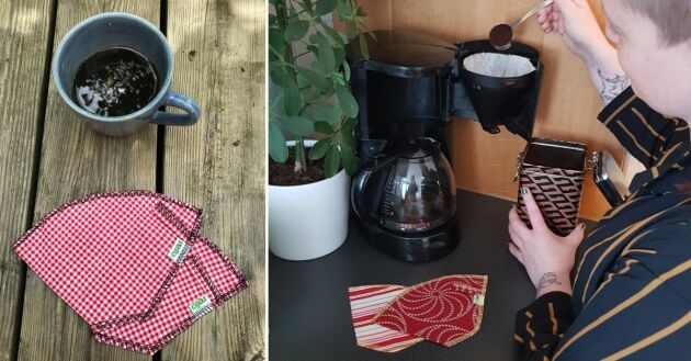 Våra kaffefilter är sydda i mönstrade tyger i fina färger som piggar upp lite extra vid varje bryggning