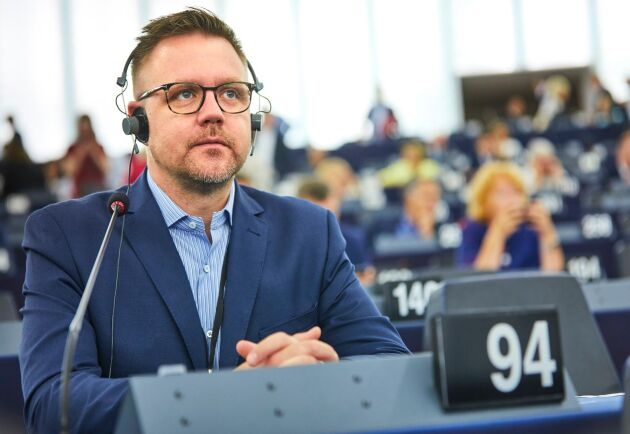 Centerpartiets Fredrick Federley (C) i EU parlamentet i Strasbourg i en bild från 2019.