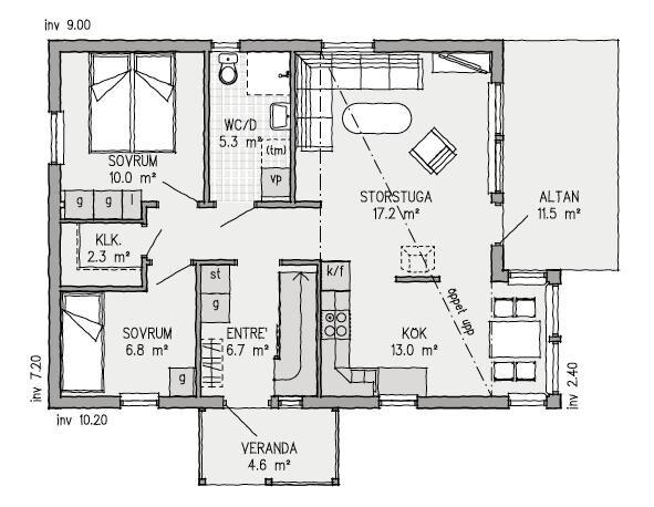 Planskiss för första plan, Vallersvik. Loft på andra våningen.