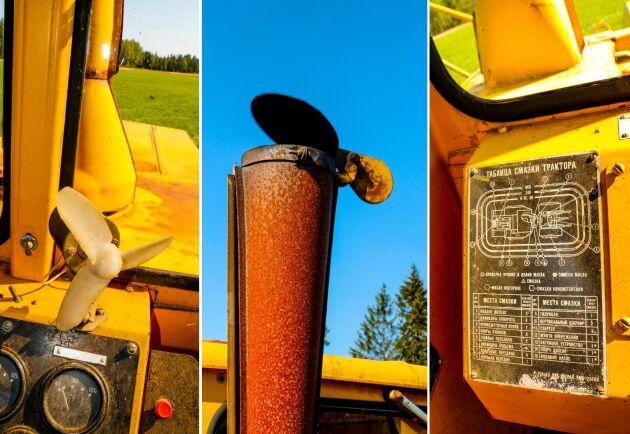 Kirovets 700A har AC och en manlig pipa modell XXL, men ritningen över det som kan vara smörjställena är svårtolkad.