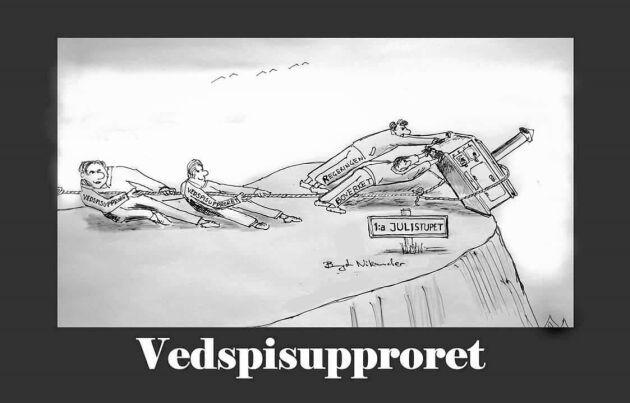 Hälarna i marken. Vedspisupprorets Bengt Nikander tecknade läget.