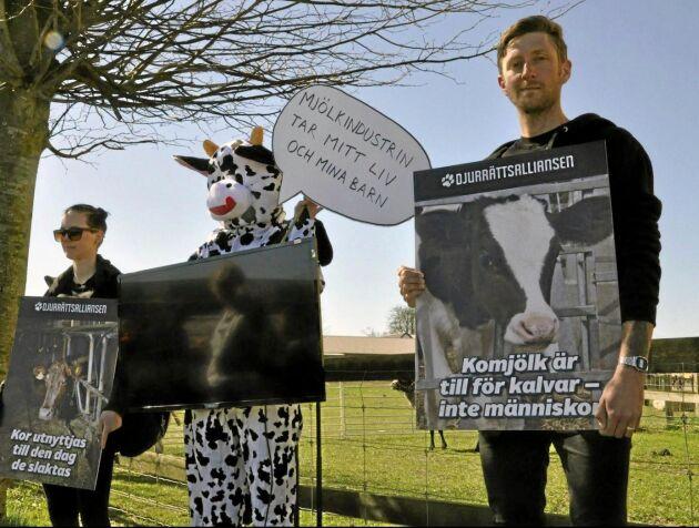 Djurrättsalliansen dök upp på betesläpp i Skurup 2018 för att protestera mot mjölkproduktionen.
