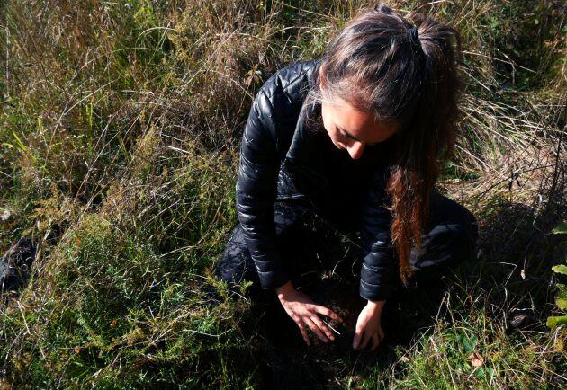 Simone Grind visar platsen där hon grävde ner den andra tvättlappen som i princip var helt intakt.