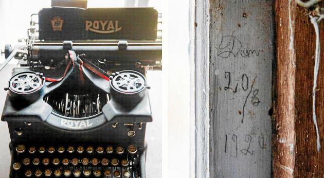 Tung pjäs till skrivmaskin, intill fönsterkarmen där Dan Andersson hann rista in sitt namn.