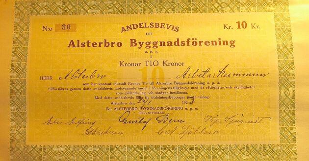 Alsterbroarna kunde köpa andelar i Folkets Hus innan det byggdes 1924.
