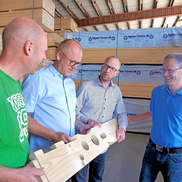 Långsiktighet är ett nyckelord för Ingarps Trävaror, förklarar Mattias Sälleteg, Nicklas Gerhardsson, Andreas Nyrén och Christian Hördegård.